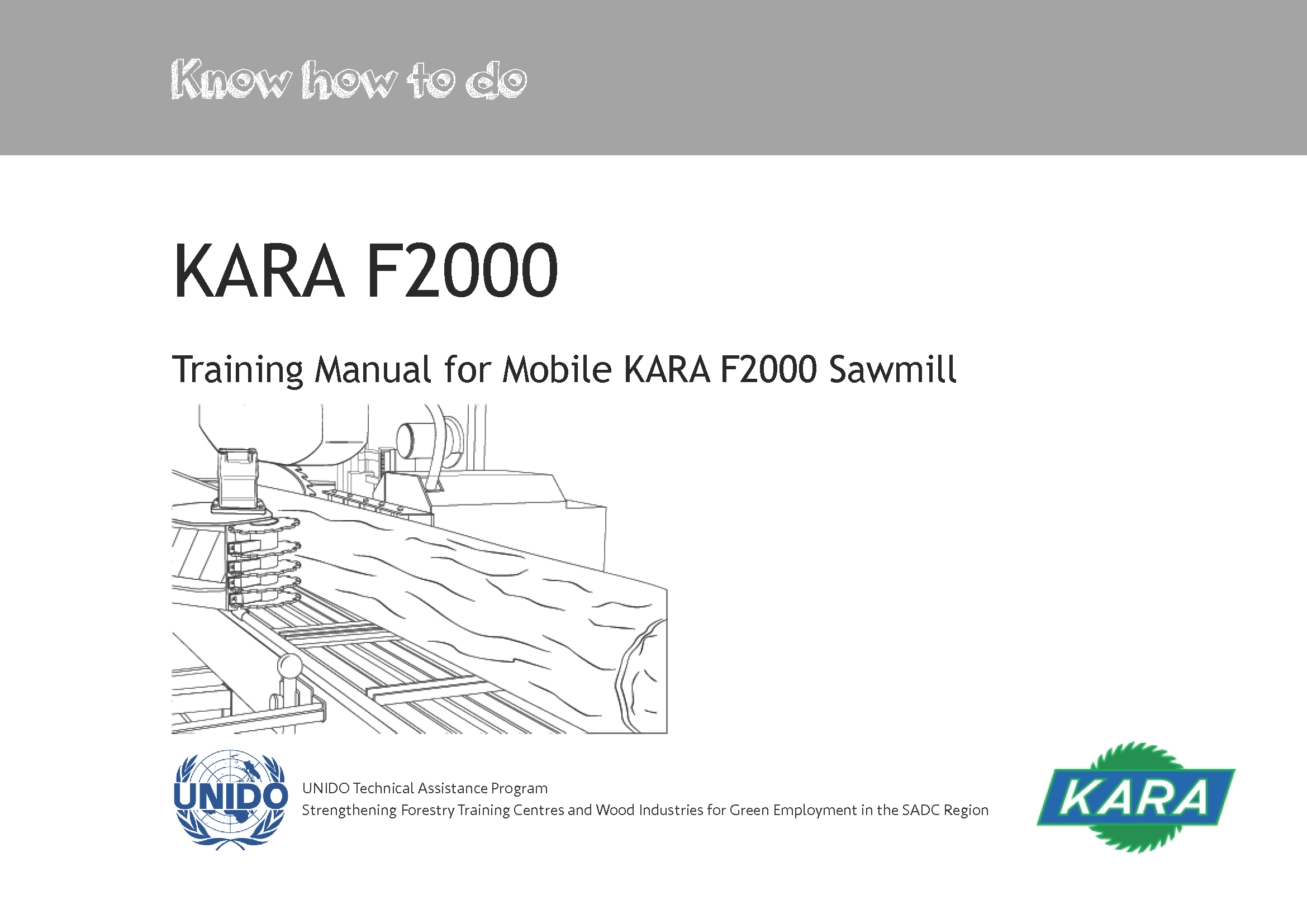 Wood Processing Training Manual for Mobile KARA F2000 Sawmill – Training Manual Cover Page